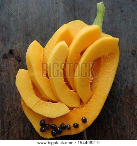 Papaya On Wooden Background, Tropical Fruit