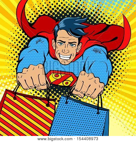 Pop art superman. Young handsome happy man in a superhero costume with a percent sign on the chest flies with shopping bags. Vector illustration in retro pop art comic style.