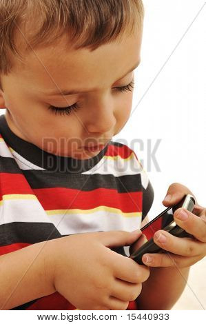 Kid playing with touch mobile phone
