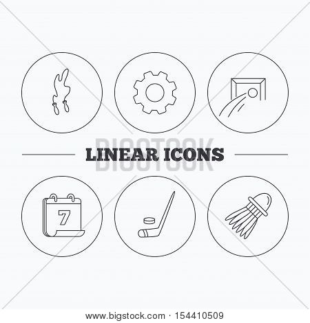 Skipping rope, football and ice hockey icons. Badminton linear sign. Flat cogwheel and calendar symbols. Linear icons in circle buttons. Vector