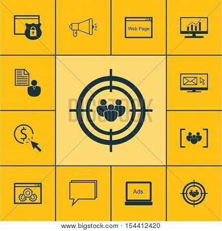 Set Of Marketing Icons On Questionnaire, Digital Media And Report Topics. Editable Vector Illustrati