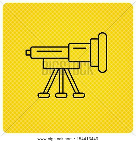 Telescope icon. Spyglass sign. Astronomy magnify lens symbol. Linear icon on orange background. Vector