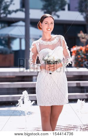 a Young bride in her wedding dress