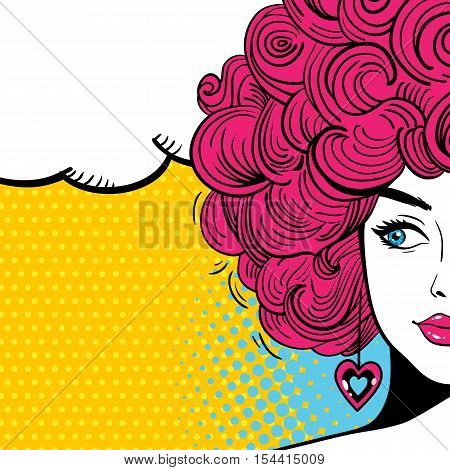 Pop Art Female Face. Sexy Woman With Curly Hair And Speech Bubble. Vector Bright Background In Pop A