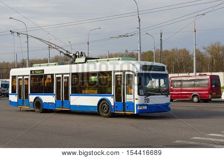 GOMEL BELARUS - APRIL 10 2016: Trolley bus and taxis at final stop