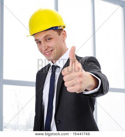 Successful worker in modern building