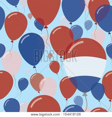Bonaire, Sint Eustatius And Saba National Day Flat Seamless Pattern. Flying Celebration Balloons In