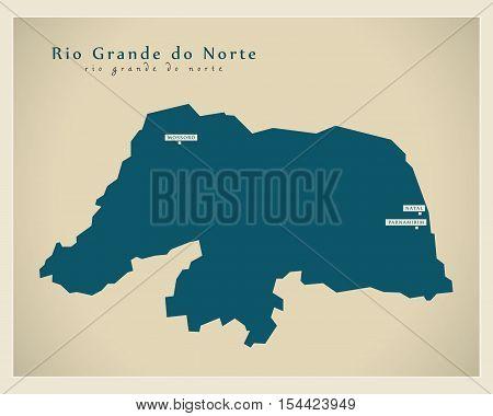Modern Map - Rio Grande do Norte BR Brazil illustration vector