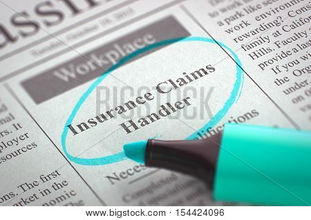 A Newspaper Column in the Classifieds with the Classified Advertisement of Hiring of Insurance Claims Handler, Circled with a Azure Highlighter. Blurred Image. Selective focus. Hiring Concept. 3D.