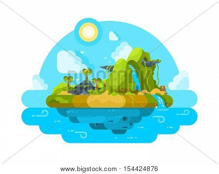 Uninhabited island in the ocean. Green vegetation, palm trees and stones. Vector illustration