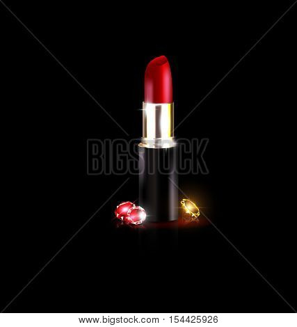 dark background, crystals and the red lipstick in black