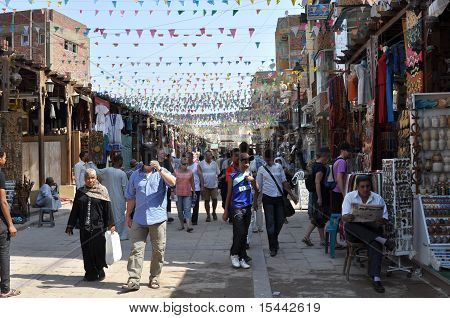 Peace life of Egyptians in streets of the city of Aswan