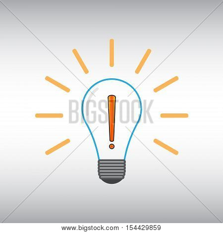 Lightbulb vector icon. Exclamation point vector sign. Ligtbulb vector image. Exclamation mark vector illustration.