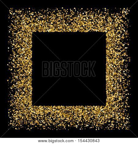 Gold frame glitter texture isolated on black. Golden color of winners. Gilded abstract particles. Explosion of confetti shine. Celebratory background. Vector illustrationeps 10.
