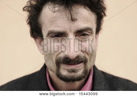 portrait of rough face man, gipsy