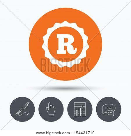 Registered trademark icon. Intellectual work protection symbol. Speech bubbles. Pen, hand click and chart. Orange circle button with icon. Vector