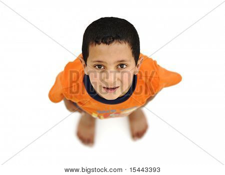 Happy child, positive fresh little boy from above, different angle, isolated on white, full body