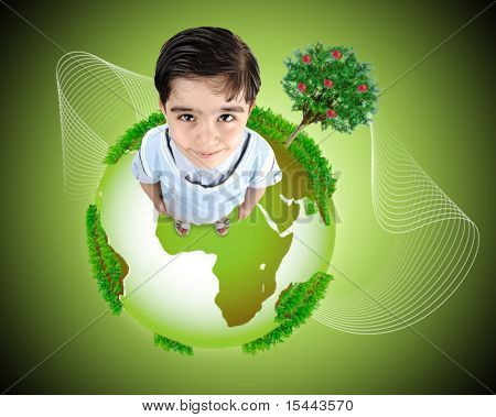 Kid standing on planet Earth. Concept,  photo and illustration.