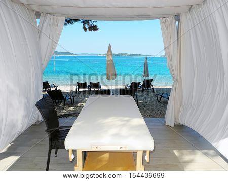 Seaview through the massage tent Vodice Croatia.