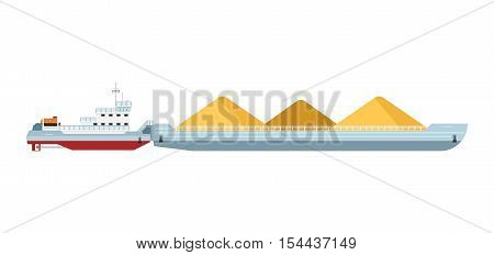 Tug boat moves cargo barge isolated on white background. Freight ship side view. Cargo barge and tug boat in flat design. Work boat vector isolated. Tug boat and cargo barge icon. Cargo ship isolated. For cargo ship agency. Cargo ship sign. Cargo ship ill