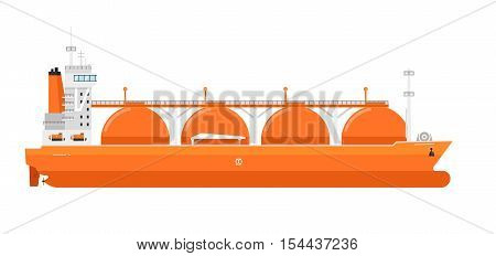 Gas tanker isolated on white background. Freight tanker side view. Commercial cargo vessel in flat design. Logistics and shipment design sign gas tanker icon. Vector gas tanker. Cargo or freight ship. For cargo ship agency. Cargo ship sign. Cargo ship ill