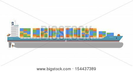 Container ship isolated on white background. Vector container ship side view. Commercial container vessel in flat design. Container ship or container vessel icon. Isolated cargo ship or freight ship. For cargo ship agency. Cargo ship sign. Cargo ship illu