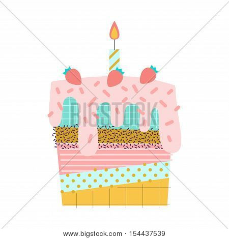 Vector sweet cake with candles illustration. Made in 80s memphis style. Can be used as greeting card print or poster advertising banner.