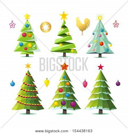 Set of different elegant christmas trees. Design elements of stylized fir trees in several variants isolated on white. Christmas trees vector collection.