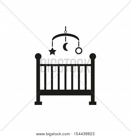 Childrens bed icon. Baby bed design. Cradle and home, nurse symbol. web. graphic. AI. app. logo. object. flat. image. sign. eps. art. picture - stock vector