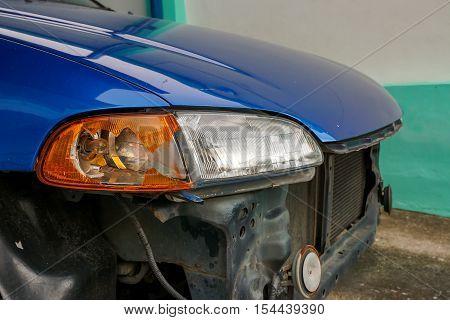 Car lamp broken  from an accident. car crash