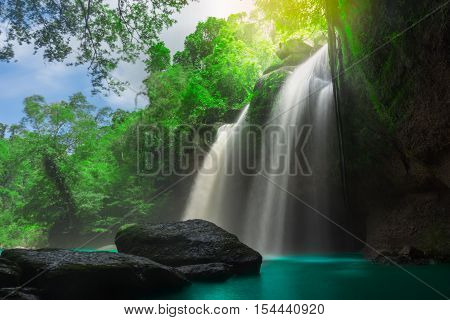 Amazing Beautiful Waterfalls In Tropical Forest At Haew Suwat Waterfall In Khao Yai National Park, T