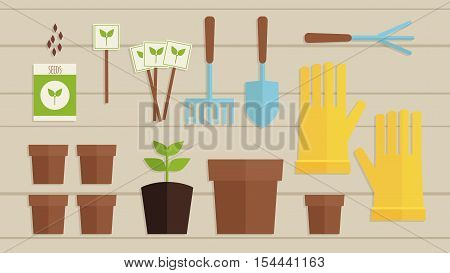 Vector Illustration. Gardening Collection Set. Flatlay Garden Equipment. Flat Gardening On Wooden Ba