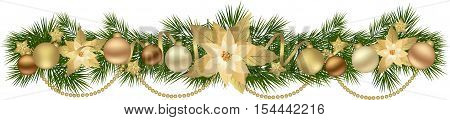 Christmas garland with fir branches and decorative elements. Christmas border with Poinsettia flowers for christmas decorations