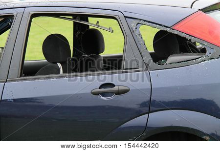 The Smashed Windows of a Crashed Car Wreck.