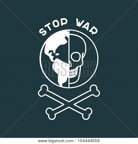 Stop War Poster with Skull and the Globe. Vector flat design