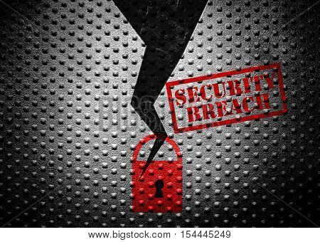 broken lock with security breach text on steel wall
