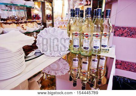 Hai, Ukraine - October 25, 2016: Martini Bianko On Buffet Table. Martini Is A Brand Of Italian Vermo