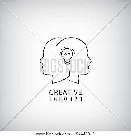 Vector 2 heads with lamp bulb line icon isolated. Creative mind, team work, thoughts exchange logo.