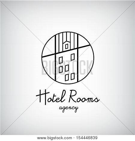 Creative concept symbol for hotel, hostel, travel, housing rent, real estate. Vector building, house with windows logo