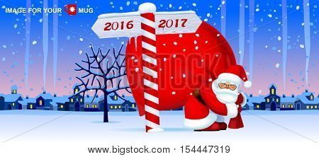 Santa Claus carrying a big red sack and wooden sign showing the way to 2017 against the the winter country landscape. Christmas and New Year mug design and greeting card. Vector illustration