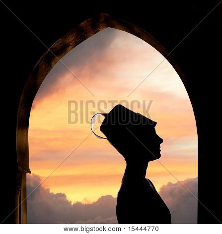 Mysterious Oriental woman silhouette, sunset in background