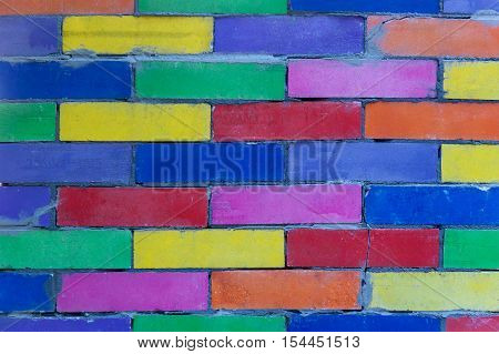 Multicolored wall. Abstract fun multicolored painted brick wall.