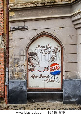 Lviv, Ukraine - June 1, 2013: Pepsi cola advertisement on streets of downtown city