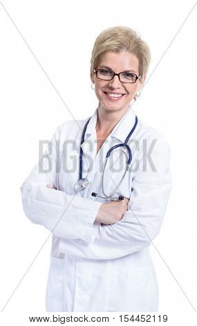 Smiling medical doctor. Isolated over white background
