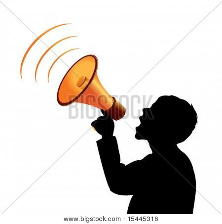 vector silhouette with megaphone