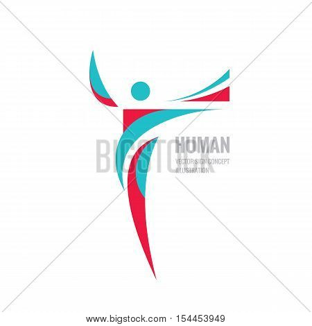 Human character - vector logo template concept illustration for sport club, fitness hall, health center, music festival etc. Abstract shapes. Design element.