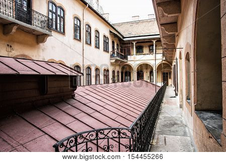 Courtyard of old stylish building in historic centre of Budapest Hungary. Architectural theme. Possibility of accommodation. Cultural heritage.