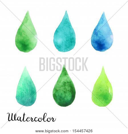 Set of watercolor blots isolated on white background. Colorful hand drawn watercolor blots for your design.