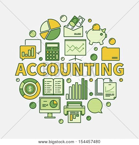 Accounting round colorful illustration. Vector business analysis and analytics symbol made with yellow word Accounting and flat icons