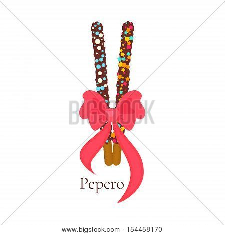 Pepero card design template with South Korean chocolate sticks and a bow. Assorted biscuits covered with chocolate and festive sprinkles on white background. Food vector illustration.